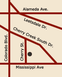 Map to 950 South Cherry Street